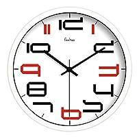 LTS シンプルクリエイティブデジタルウォールクロック/ミュートアートリビングルームのウォールクロック/寝室のクロックを飾る 壁時計 (Color : A, サイズ : 10inch)