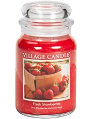 Village Candle Large Fragranced Candle Jar - 17cm x 10cm - 26oz (1219g)- Fresh Strawberries - upto 170 hours burn...