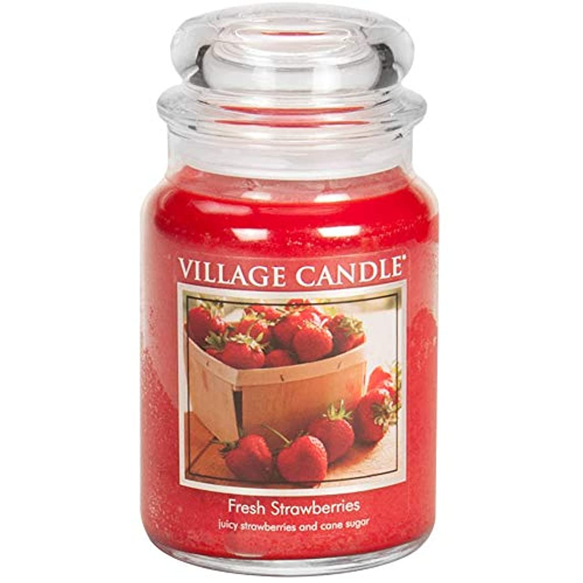 遠近法精巧な触手Village Candle Large Fragranced Candle Jar - 17cm x 10cm - 26oz (1219g)- Fresh Strawberries - upto 170 hours burn...