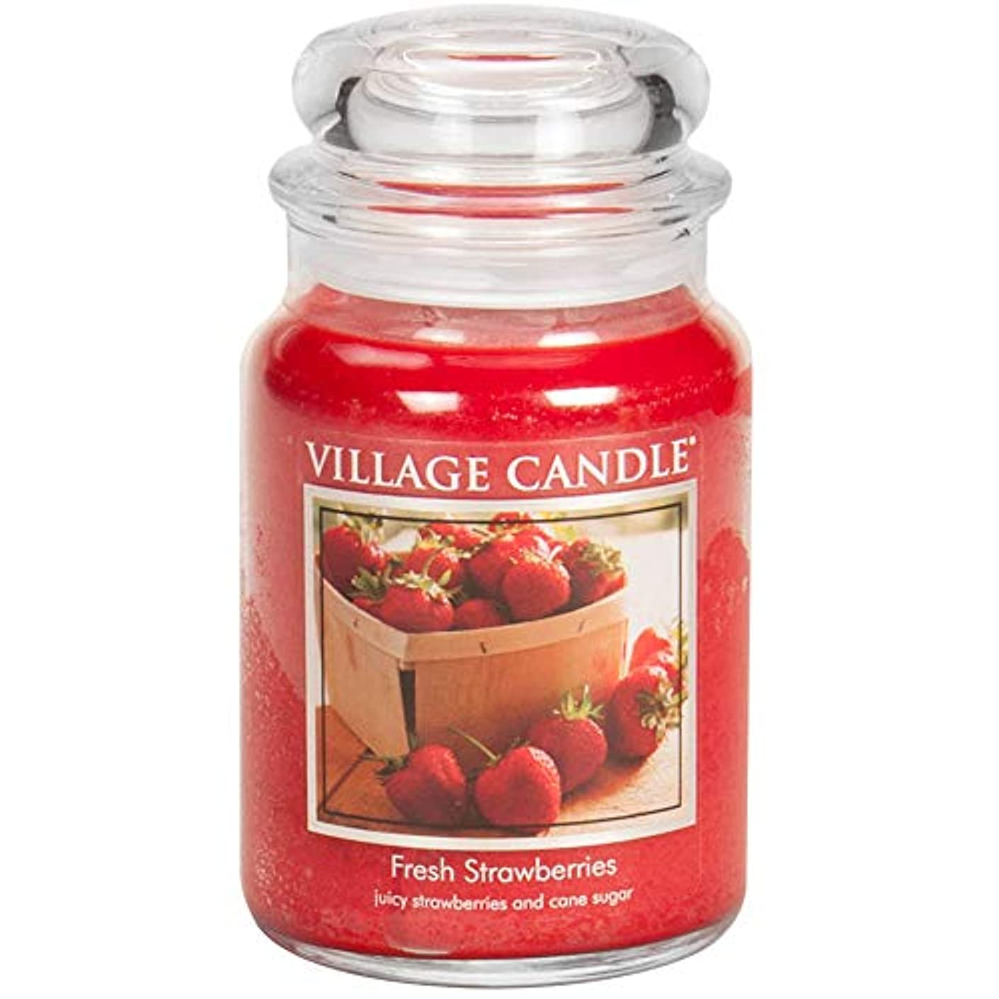 人種日曜日中庭Village Candle Large Fragranced Candle Jar - 17cm x 10cm - 26oz (1219g)- Fresh Strawberries - upto 170 hours burn...