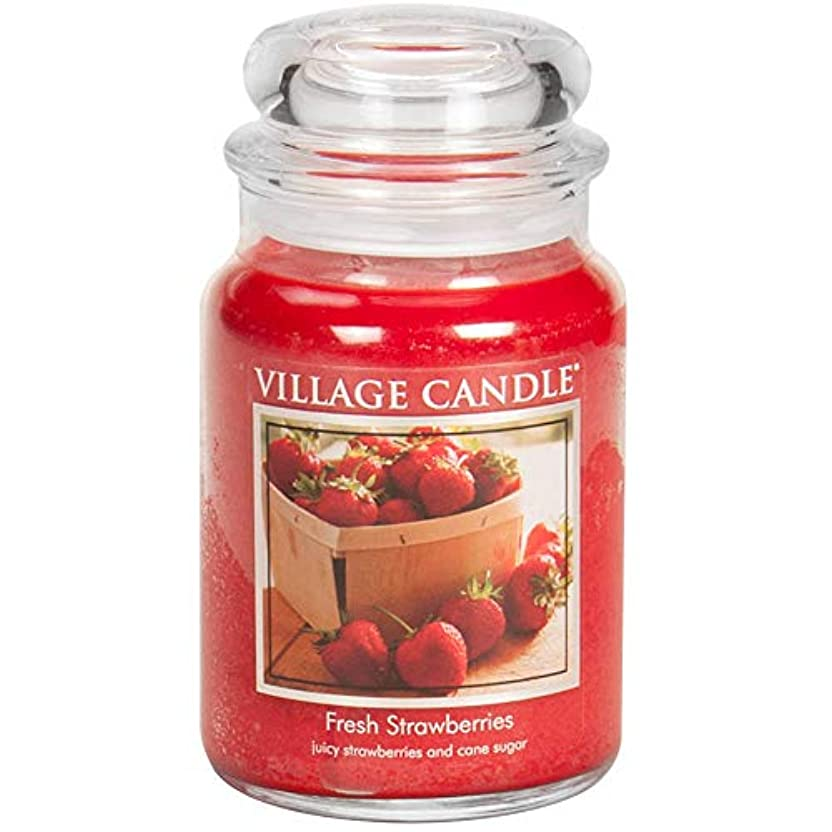 ワイプ楽しむ魅力的Village Candle Large Fragranced Candle Jar - 17cm x 10cm - 26oz (1219g)- Fresh Strawberries - upto 170 hours burn...