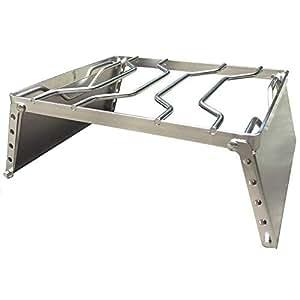 ZAFIELD 五徳 アウトドア クッカースタンド グリルスタンド 風防板付き ゴトク 高さ6段調整機能付