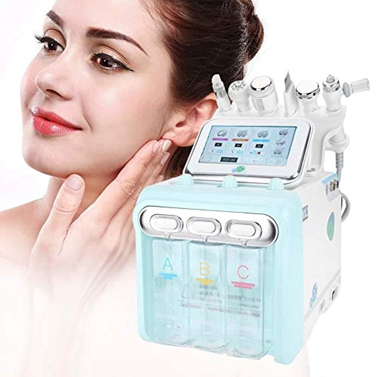 合理化電話するショップフェイスケアマシン、6で1プロフェッショナル水素酸素美容デバイス、水注入器具、スパサロン機器クリーニング肌の若返り(EUプラグ)