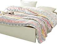 Hanacat 6层纱布毯 纯棉 肌肤挂毯 柔软 吸湿性 印花 可爱 可洗毛巾