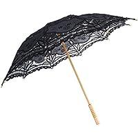 Baoblaze Elegant Vintage Ladies Handmade Black Cotton Parasol Lace Umbrella Party Wedding Dancing Bridal Decor
