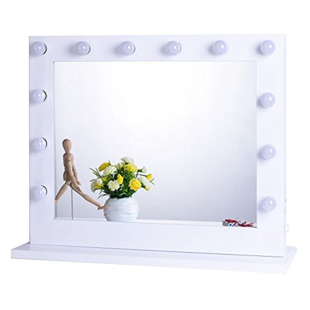 女優ミラー 女優鏡 大型 壁掛け LED ライト付き コンセント付き 無段階調光 化粧鏡 ハリウッドミラー ドレッサー (ホワイト) (横型8065)