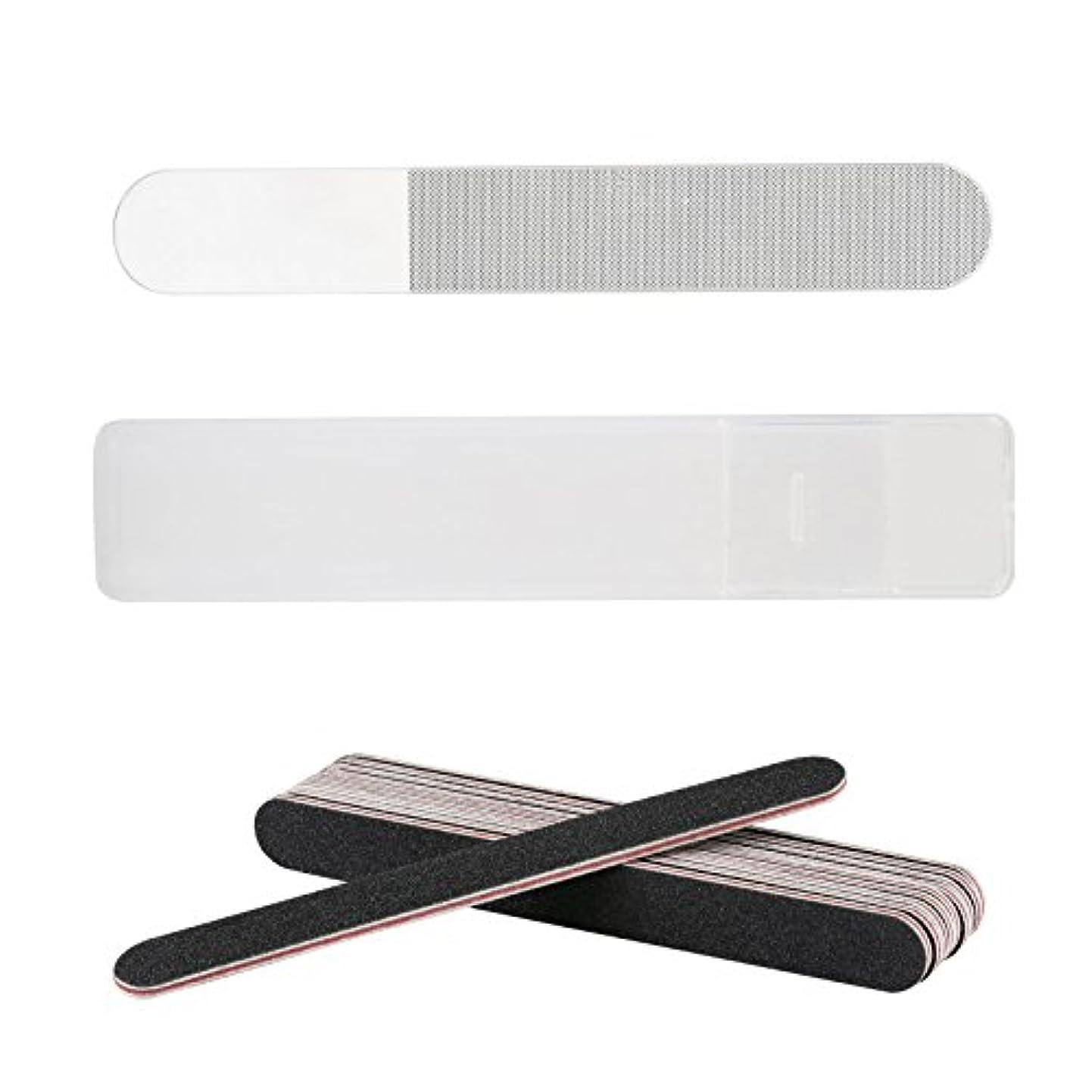タイルカートリッジできるLIHAO 爪やすり ガラス製 爪磨き ネイルシャイナー ネイルファイル ケース付き 11個セット
