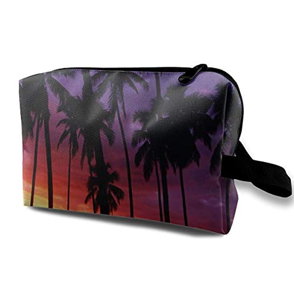 等価拒絶する九月Beach Sunset Coconut Trees 収納ポーチ 化粧ポーチ 大容量 軽量 耐久性 ハンドル付持ち運び便利。入れ 自宅?出張?旅行?アウトドア撮影などに対応。メンズ レディース トラベルグッズ
