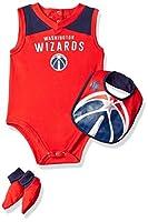 NBA Outerstuff NBA 新生児&乳児 オーバータイム ボディスーツ、よだれかけ&ブーティーセット 18 Months レッド