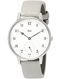 eedfd81544 [リキ]RIKI 腕時計 RIKI クラシックデザイン 白文字盤 ねずみ色革バンド AKPK431 メンズ