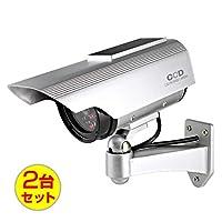 (お得な2台セット)ダミーカメラ 防犯カメラ ソーラーパネル バッテリー 防雨タイプ (OS-163)シルバー