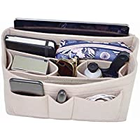 Handbag Organizer - 2in1 Bag Purse Tote Insert with Zipped Waterproof Pocket