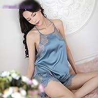 XinLin Du エロ下着新ディープVオープンバックバド展望シルキーシルクセクシーなナイトドレス (Color : Blue)