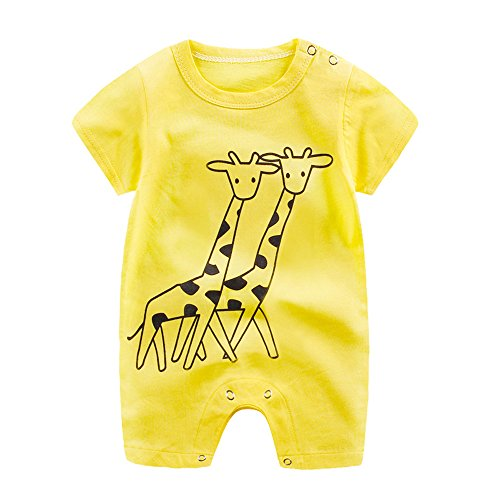 0ff9c1edec001 Tovadoo ベビー ロンパース 半袖 動物柄 キリン柄 夏 コットン 可愛い 爽やか 遊園地 リゾート 旅行