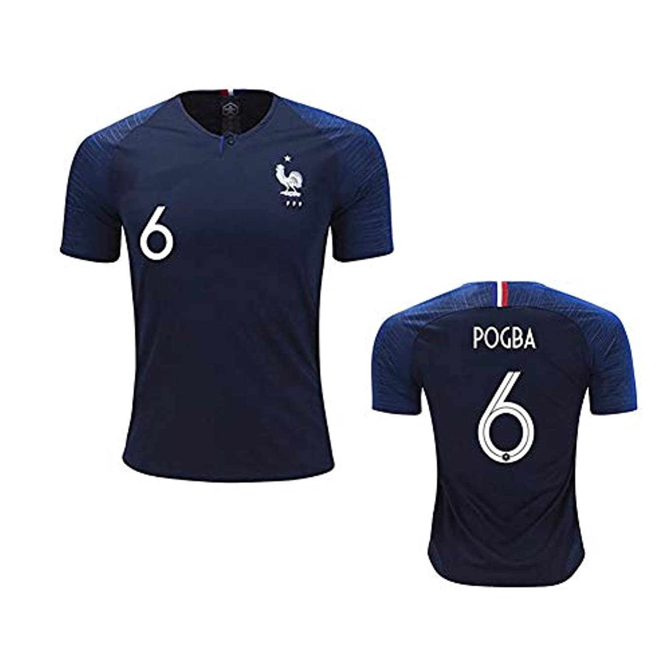 防腐剤十代の若者たち遊びます宮の 大人 tシャツ 半袖 海外限定 レプリカ ウェア フランス代表 ブラック 2018ホーム 6番 POGBA メンズ