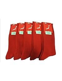 【日本製】小さめサイズ 23?25cm 靴下 メンズ リブソックス レッドのみ 5足セット QREUZ(クロイツ)