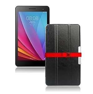 LOE(ロエ) Huawei ファーウェイ MediaPad T1 7.0 (T1-701w9) タブレット ケース 高級 PU レザー (型番HMP638) 液晶保護フィルム付 (T1 ブラック)
