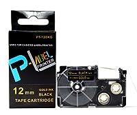 カシオ ネームランド用 互換 テープカートリッジ 12mm XR-12BKG 黒地金文字
