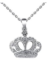 Baoblaze クリスタル 王冠型ペンダント チェーン 鎖骨ネックレス 人気 エレガント プレゼント ギフト 全2色 - シルバー