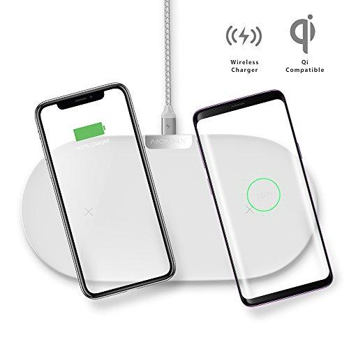 MOMAX qi ワイヤレス充電器 2台同時充電 10W×2 急速 iPhone7.5w デュアル充電 置くだけ充電器 iPhone X/iPhone 8/iPhone 8 Plus/Samsung Galaxy S9/Galaxy S9 Plus/Galaxy S8/S8 Plus/S7/S7 Edge/S6/S6 Edge/Note 8対応他のQi対応機種 (ホワイト)