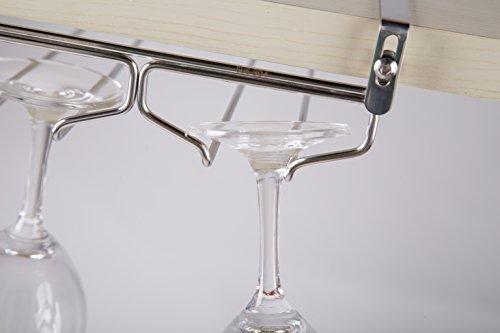 戸棚下ワイングラスハンガー ワイングラスホルダー 吊り棚 ステンレス製 穴あけ不要 ネジ止め不要 ふらふらしない 取り付け工具付き(2レーン)