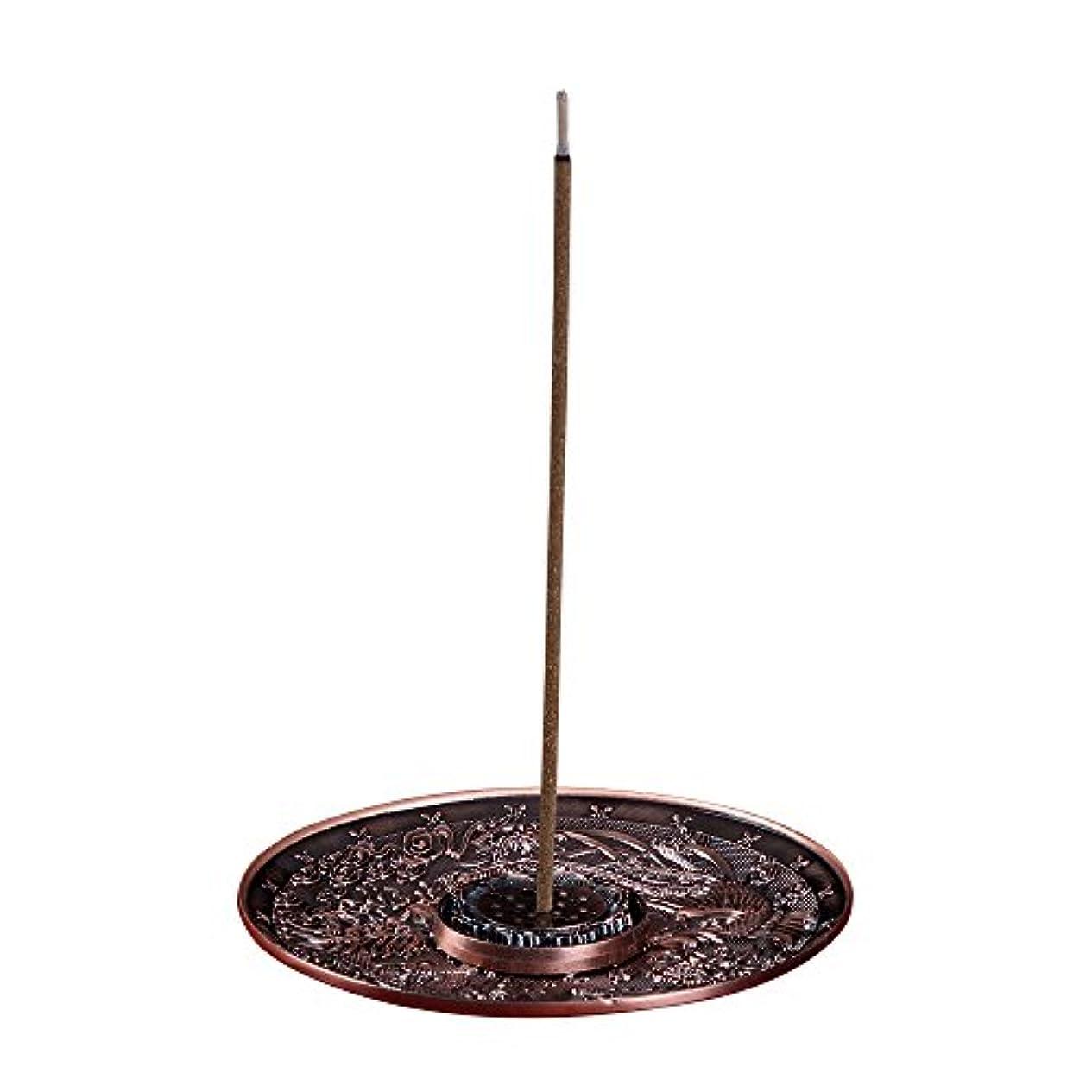 動機タクト教善本堂(ぜんほんどう)香炉 香立て お香用具 お線香用可 アロマ香炉 竜と鳳凰銅雕