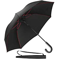 Newdora Umbrella Stick Umbrella Automatic Open Manual Close Windproof Extra Strong Golf Umbrella Ideal for 1-3 People During Storm (Black)