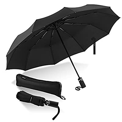 Newdora Windproof Travel Umbrella Golf Umbrella Auto Open Close, Lightweight 10 Ribs Automatic Windproof Canopy Compact with Light Reflective-Gift Waterproof bag