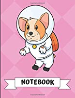 Notebook: Adorable Corgi Puppy Dog in Space Cartoon on a Pink Diamond Background. Book is Filled with Lined Journal Paper for Notes and Creating Writing.