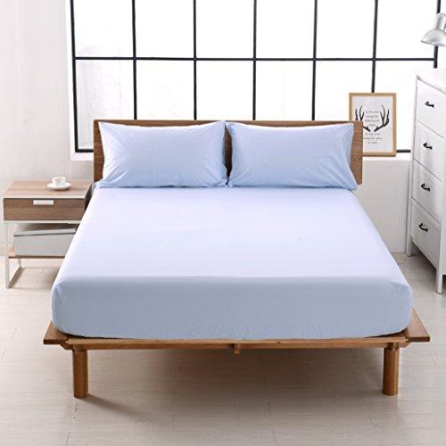 ボックスシーツ クイーン 綿100% ベッドシーツ 平織り マットレスカバー ベット用 防ダニ 抗菌 BOXシーツ ブルー
