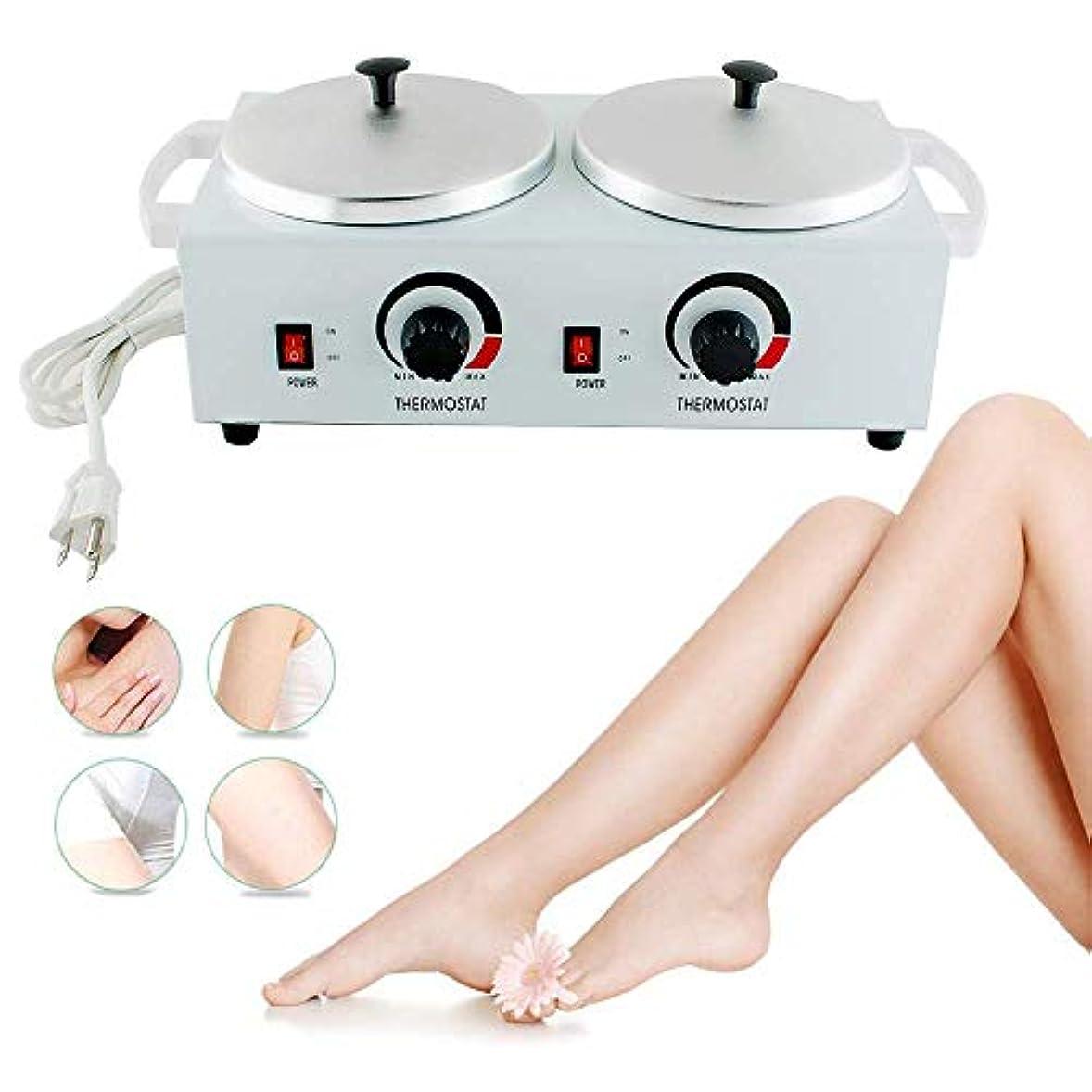 仕える代わりの明快ワックスウォーマー電気ワックスヒーターダブルパラフィンポット美容機フェイシャルスキン機器スパ調節可能な温度脱毛ツール用女性男性トータルボディニーズ,AmericanStandardPlug