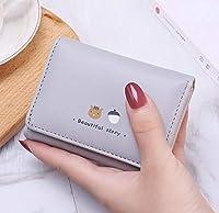 櫻)ミニ 財布 レディース 三つ折り かわいい 人気 がま口 多機能 大容量 コンパクト 軽量 プレゼント 印花(グレー)