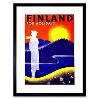 Travel Finland Midnight Sun Fjord Forset Picture Framed Wall Art Print 旅行フィンランド画像壁