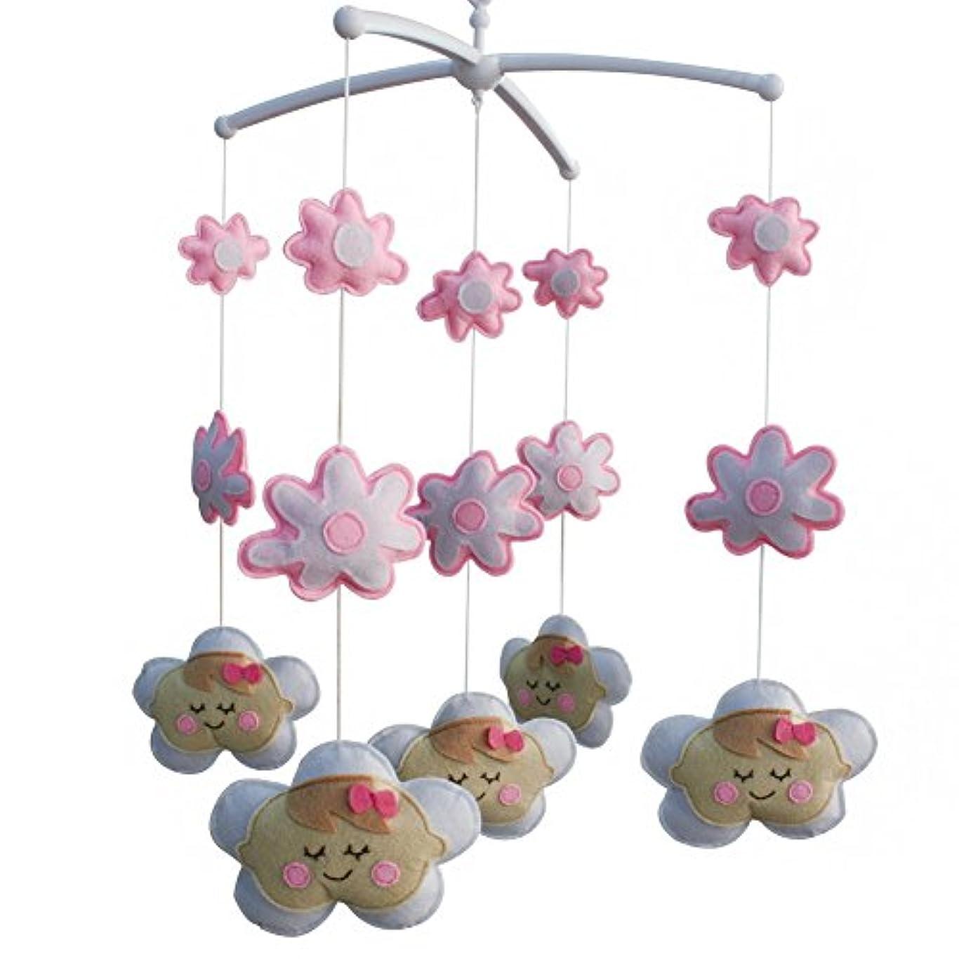 ヤギ伝統揺れる手作りの素敵なピンクの花の赤ん坊のまぐさ桶のモバイル保育室の装飾女の子のためのミュージカルモバイルまぐさ桶のおもちゃ