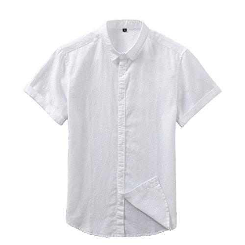 メンズ 半袖 開襟シャツ無地 通気性 綿麻窮屈感ゼロ 吸汗 カジュアルシャツ 無地半袖 おしゃれ MIMIPO選べる3色(S~XXXL)