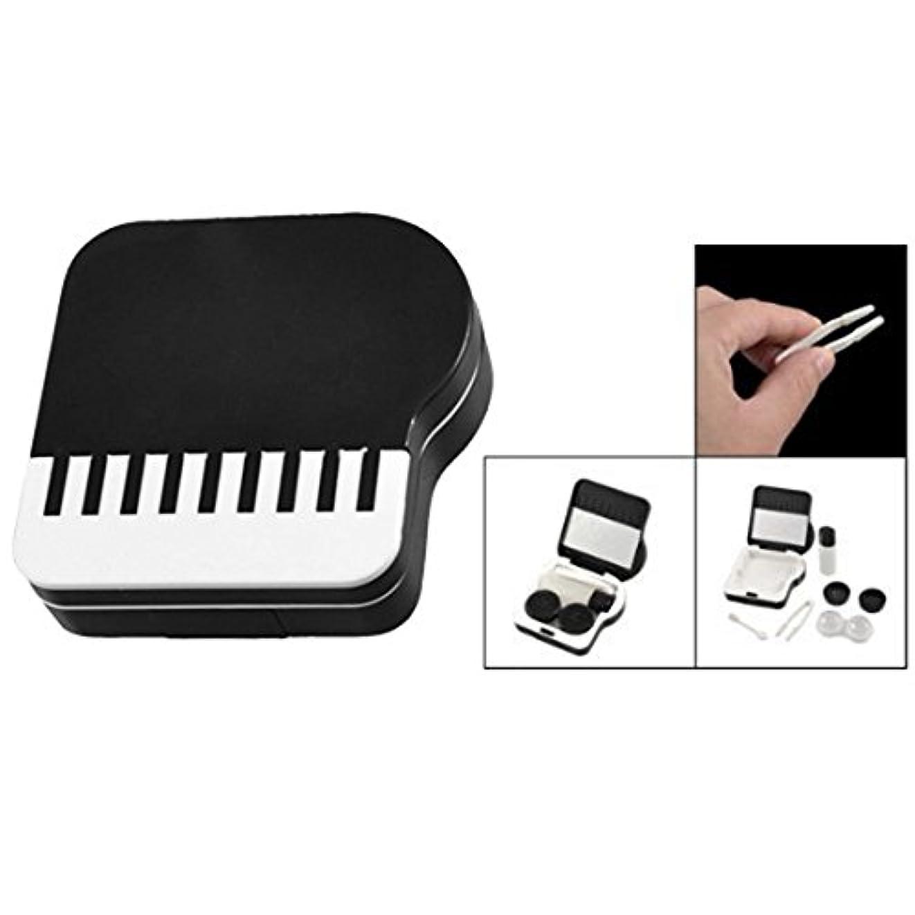 変換するまだ包囲ACAMPTAR ピアノのデザイン 目に見えないコンタクトレンズボックス ケース-黒&白
