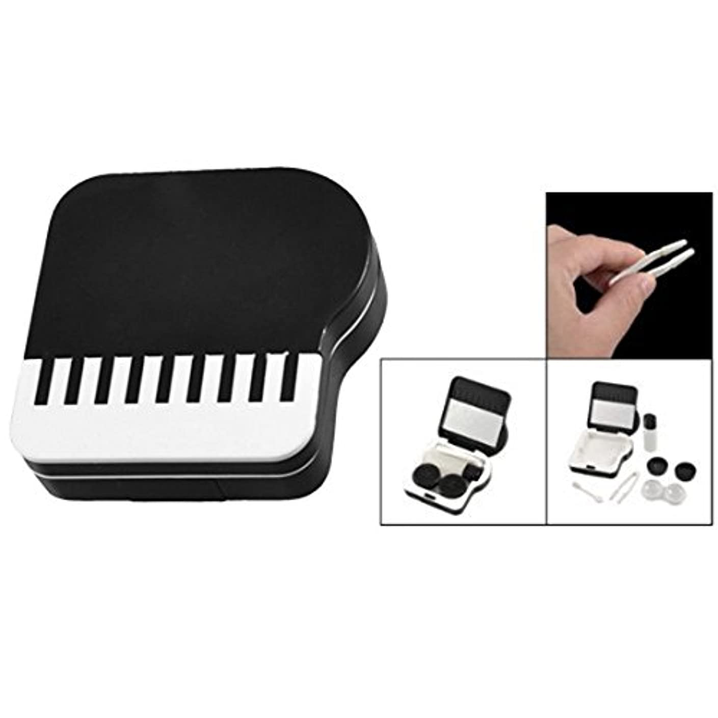 自然公園みなす重さACAMPTAR ピアノのデザイン 目に見えないコンタクトレンズボックス ケース-黒&白