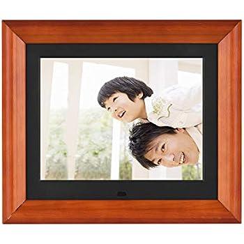Andoer 木製 デジタルフォトフレーム 8インチ 1280 * 800 高解像度 LED 写真/動画/音楽再生 目覚まし時計 カレンダー 多機能フォトフレーム 良いギフト