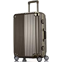 ABS and PC Waterproof Luggage Case Rotating Caster Travel Case Solid Color Wear-Resistant Classic Vacation Luggage (Color : Metallic, Size : 20 inch)