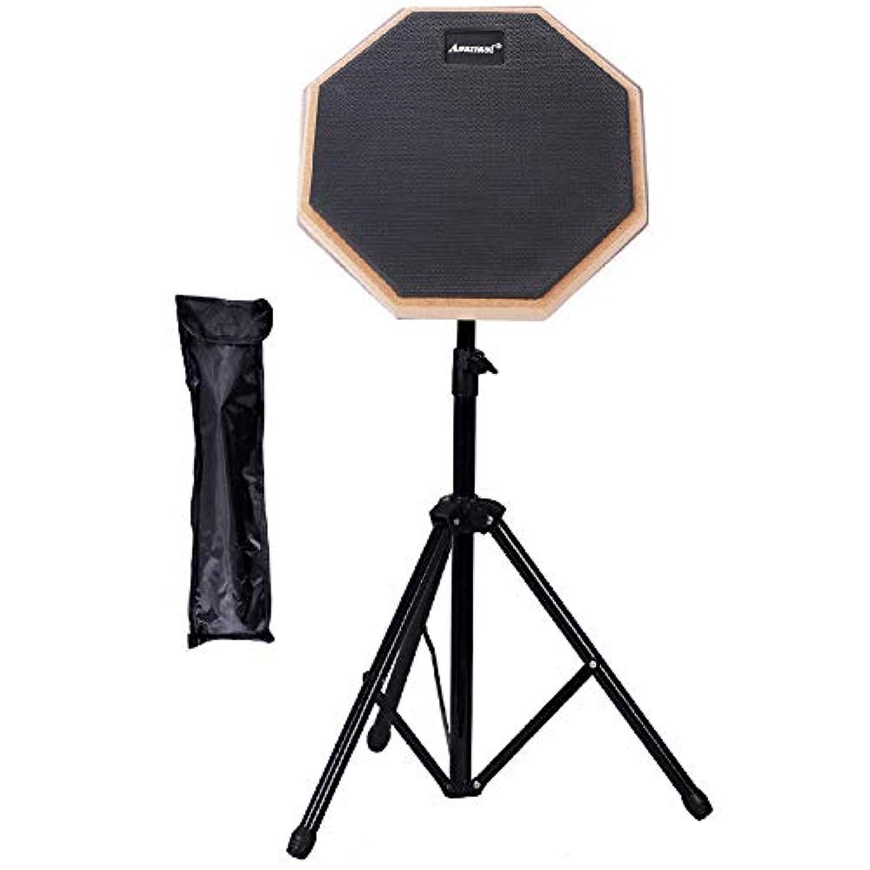 Twinkle goods (ツインクルグッズ) ドラム 練習 パッド トレーニングパッド 8インチ スタンド 収納袋 付き ラバー 製 高弾 ブラック