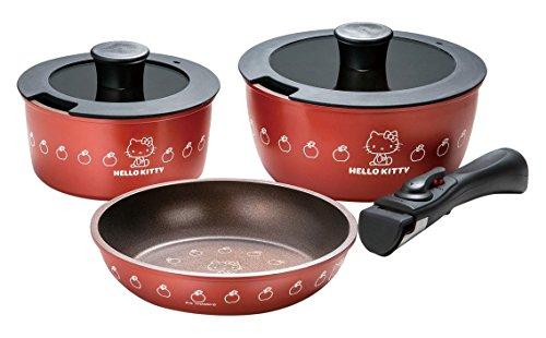 ハローキティ 取っ手が外れる鍋&フライパン3点セット ANFP3 POS.340499