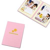 ポケット台紙 Anniversary/マーガレット L2面(タテ・タテ)  メッセージカード付 (ピンク)