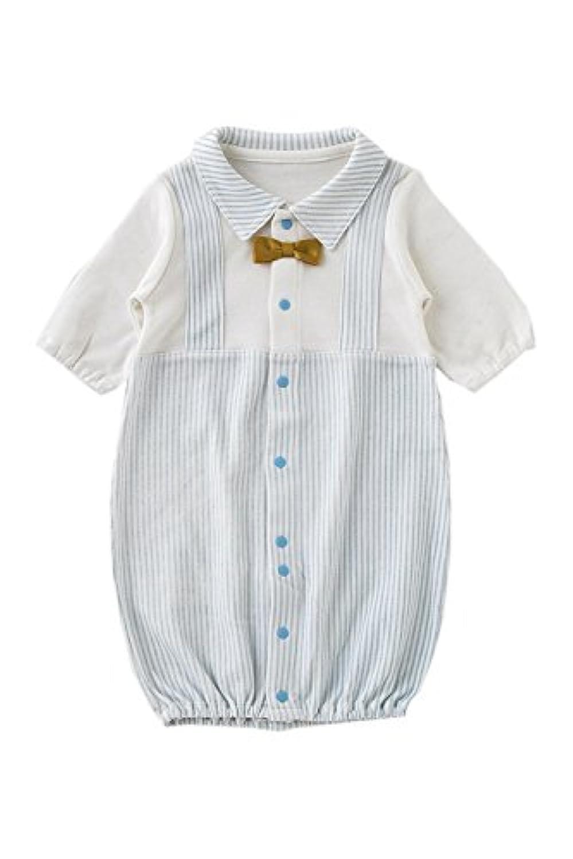 (チャックル) chuckle 蝶ネクタイ 重ね着風 新生児ツーウェイオール サックス 50-60cm P5107E-00-30