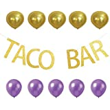 grantparty Tacoバーゴールド文字誕生日ホオジロスタイリッシュwith 10 Ballonsデコレーションバナー、パーティー用品、メキシコフィエスタテーマ