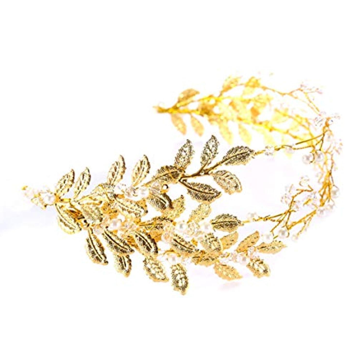 聡明突然のウサギゴールドリーフスタイルチャーム花嫁ヘッドバンド高級ブライダルウェディング帽子ファッションヴィンテージプリンセスバロックスタイルヘッドドレス-ゴールド