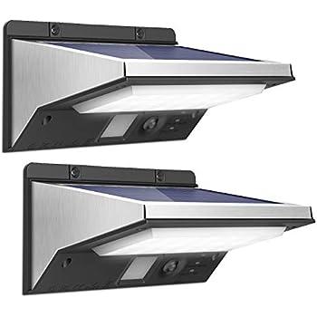 OUSFOT センサーライト ソーラーライト ウォールライト 人感センサー搭載 3つ知能モード 太陽発電 屋外 玄関 縁側 車道 庭 ガーデン 駐車場などに照明用 夜間自動点灯 防水 温白色 2個入り
