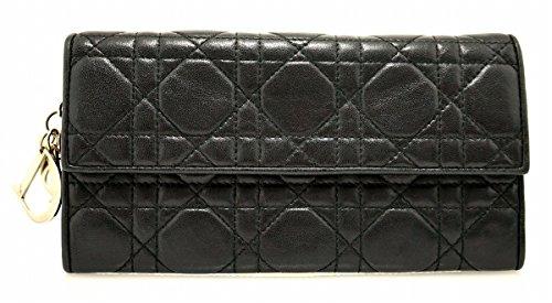 [クリスチャン ディオール] Christian Dior レディディオール カナージュ レザー 2つ折 長財布 ロゴ チャーム 黒 ブラック