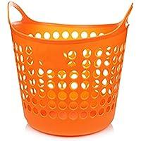 ZZHF xiyilan 収納バスケット、衣類バスケット、衣類バケツ、衣類収納バスケット、プラスチック製のハンパー、ハンパー、大型 バスケット (色 : Orange, サイズ さいず : 35 * 36.4 * 26cm)