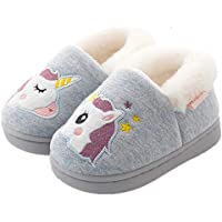ALPARA Boys Girls Slipper Coral Fleece Cute Bunny Slip On House Slippers Indoor Home Shoes Toddler/Little Kid