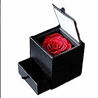 枯れない本物の赤い薔薇 花言葉「情熱・激しい愛」ジュエリーBOX プリザーブドフラワーギフト・誕生日・記念日・サプライズ (レッド)